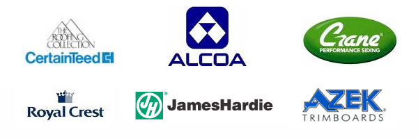 Logos - CertainTeed, Alcoa, Crane Performance Siding, Royal Crest, James Hardie, Azek Trim Boards